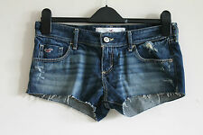 Hollister Blue Stonewashed Distressed Denim Jean Hot Pants Shorts Sz 3 W26 UK 8