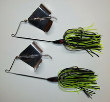 (2) 1/2 Oz. Custom Topwater Buzzbait Lures(Black/Chart)-Bass Fishing-Fishing-NEW