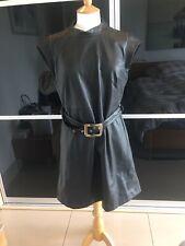 ZARA BLACK FAUX LEATHER BELTED DRESS SIZE XL