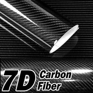 3' x 5' 7D Premium Hi Gloss Black Carbon Fiber Vinyl Wrap Bubble Free Release U1
