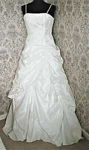 Ivory wedding dress by ALICE JAMES Size 10 Embroidered beaded bodice Mini train