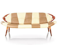 "85"" W Sofa bench brown beige Italian leather exotic wood frame leaf design back"