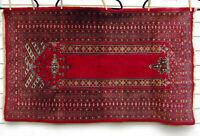 """Antique Vtg Turkish Prayer Handknotted Handmade Wool Rug 52x31"""""""
