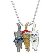 NEW CRYSTAL TRIPLE CHRISTMAS KITTY CAT CHARM  PENDANT NECKLACE W/ CHAIN