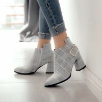 Ladies Chelsea Check Metal Buckle Ankle Boots Girls Pointy Toe Block Heel Shoes