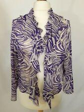 Per Una M&S Chiffon Wrap Top - Size 18 - Purple & White - Animal Print - Ruffled