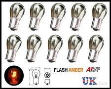 Set 10 Chrome Silver Flash Amber Rear Indicator Bulbs 581 Turn Signal 12v