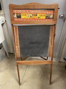 Antique Vintage Richmond Wood Chalkboard & Scrolling Easel