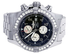 Custom Mens Breitling A13370 Super Avenger XL S.Steel 48MM Diamond Watch 4.5 Ct
