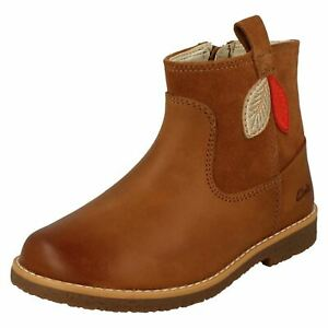 Girls Clarks Leaf Detailed Ankle Boots 'Comet Style K'
