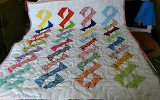 Pieced Scrap Chain of Love Baby Boy Girl Crib Quilt Handmade Handcrafted Throw