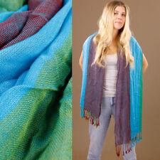Soft Blue Green Maroon Stripe Large Scarf Sarong Wrap Light 80% Cotton 170x63cm