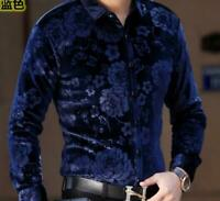 Casual Mens  Velvet Dress Shirt Blouse Floral Formal Long Sleeve Tops Fashionn