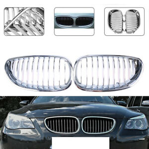Pair Front Grilles Grill Mesh Covers Chrome for BMW 5-Series E60 Sedan 2003-2010