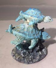 """Sea Turtles Figurine - 3""""H - Swimming Sea Turtles & Coral Figurine"""