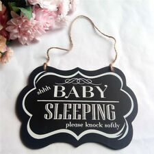BABY SLEEPING Boy Girl Wooden Hanging Plaques New Born Nursery Room Decor Sign