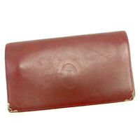 Cartier Wallet Purse Mastline Red Gold Woman unisex Authentic Used T1227