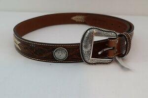 Nocona Embossed Leather Belt Rawhide New Mens Silver 42 Silver Floral N210001408