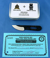 TOPS Turley 23 Knife 1095 Carbon Steel w/ Survival Kit Tin USA Made