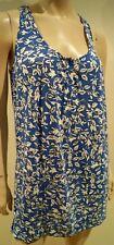 DVF DIANE VON FURSTENBERG Blue & Cream Floral Leaf Print Mini Vest Tunic Dress M