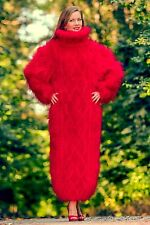 Red hand knitted long mohair sweater dress SUPERTANYA fuzzy thick gown