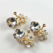 4 pcs Crystal Golden Metal Flower Charm Necklace Pendant DIY Jewelry 27x18mm
