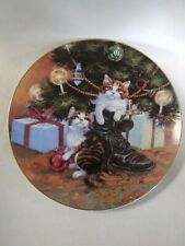 Country Christmas 1984 Collector Plate Lowell Davis Cats Tree Boot  Autographed