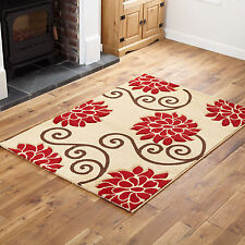 Rug Modern Carved Floral Thick Soft 160x220cm Beige Red Quality Rugs