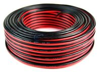100' Feet 16 Gauge Zip Speaker Wire Red Black Stranded Copper Clad Power Ground