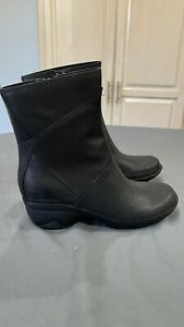New Merrell Womens Waterproof Ankle Boots Black Leather Thinsulate Zip Up 10