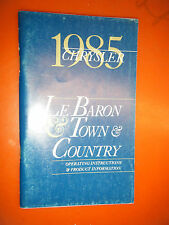 1985 CHRYSLER LE BARON TOWN & COUNTRY FACTORY OPERATORS OWNERS MANUAL GLOVE BOX