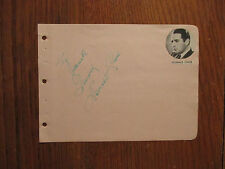 """DONALD COOK(Died-1961)Ellery Queen/Baby Face/Claudia"""" Signed 4 x 6 Album Page"""