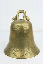 Vintage Chinese Chinese Temple Brass Bell with Dragon Decorated