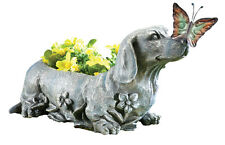 Dachshund With Butterfly Stone-Look Sculpted Garden Planter, Grey