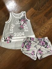 NWOT Justice Floral Gray Tank And Floral Shorts 10