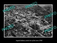 OLD POSTCARD SIZE PHOTO ANGOLA INDIANA AERIAL VIEW OF THE TOWN c1950 2