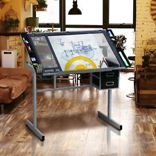 Adjustable Drafting Drawing Craft Table Art Glass Desk w/Storage Drawers Black