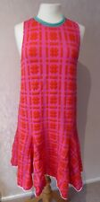 ISSA Silvia - size S - lovely PINK/ orange abstract check woven DRESS - BNWoT
