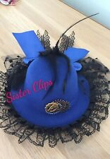 Handmade blue steampunk/gothic Top Hat clip tulle lace feathers clockwork gear