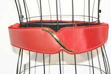 Vintage Leather Shop Red Leather & Cloth Belt with Original Price Tag