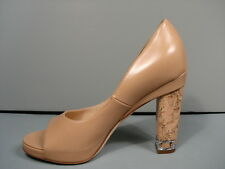 "CHANEL BEIGE LEATHER PEEP TOE PLATFORM CORK CHAIN HEEL""CC"" PUMPS HEELS 39.5 NEW"