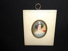 Early 19th. Oval Miniature Portrait Painting of a Young Lady, Antique