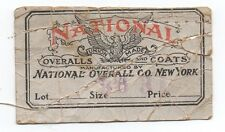1920s Clothing Tag for National Overalls New York