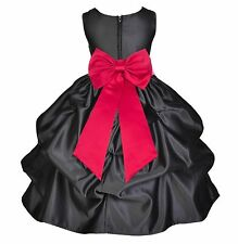 BLACK FLOWER GIRL DRESS TODDLER ANKLE LENGTH WEDDING BIRTHDAY CELEBRATION KIDS