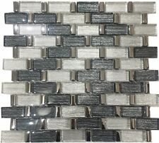 Grey & Silver Glass Metal Mosaic Chicago Tile Sheets Bathroom Kitchen Wall