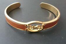 Vintage YSL Logo Yves Saint Laurent Bangle Bracelet Tan Leather Gold Tone