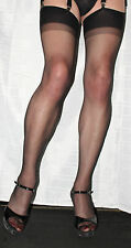 6 Pairs Black Sheer 15 Denier Stockings One Size Hi Quality Vintage Two Tone Top