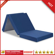Memory Foam Mattress Tri Folding Single Bed 4-Inches Removable Cover Portable