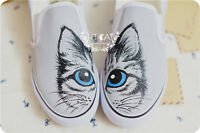 Brand New Women's Hand-painted Cute Kittens Sweet Cats comfortable Canvas Shoes