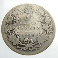 1905 Canada 25 Cents Quarter Circulated Edward VII Twenty Five Cents Coin P191